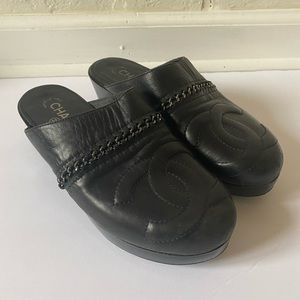 CHANEL vintage leather clogs